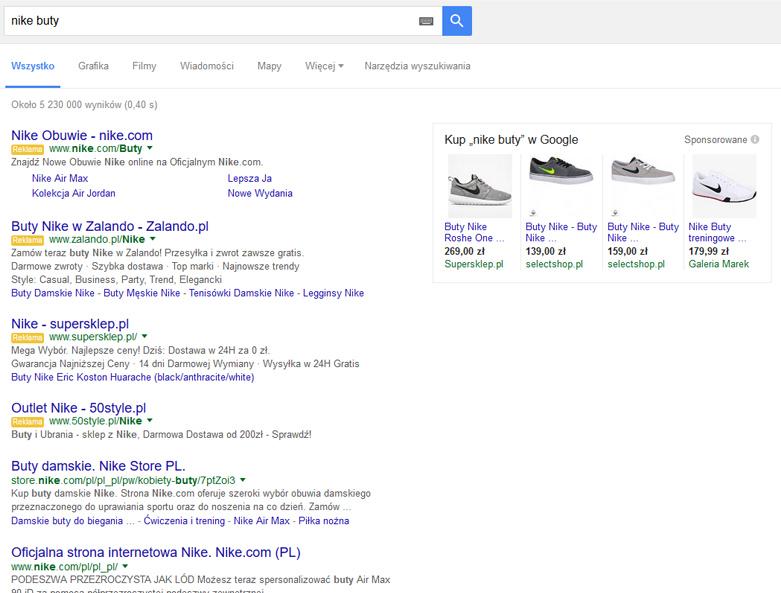 Brak zwykłych reklam AdWords po prawej stronie